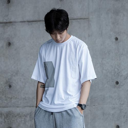 ENSHADOWER隐蔽者金属印花反光口袋短袖T恤男休闲宽松半袖上衣潮