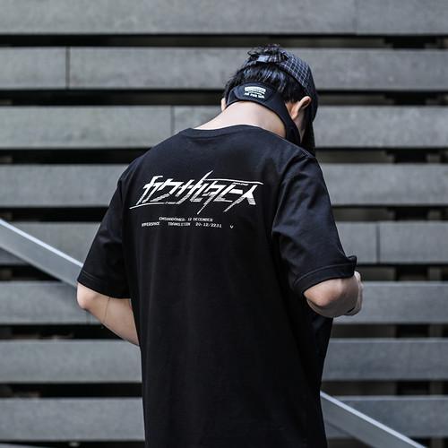 ENSHADOWER隐蔽者新品机械暗纹印花T恤男夏季圆领宽松半袖短袖潮