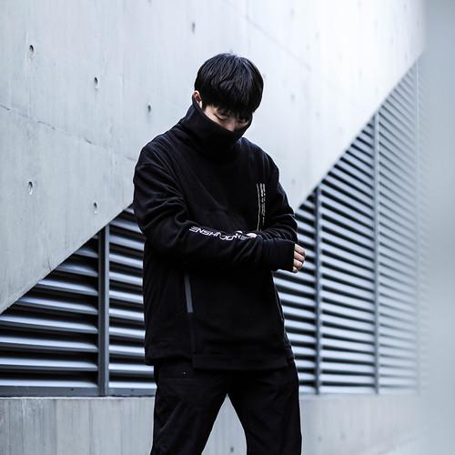 ENSHADOWER隐蔽者摇粒绒结构高领忍者卫衣男机能黑色宽松套头衫潮
