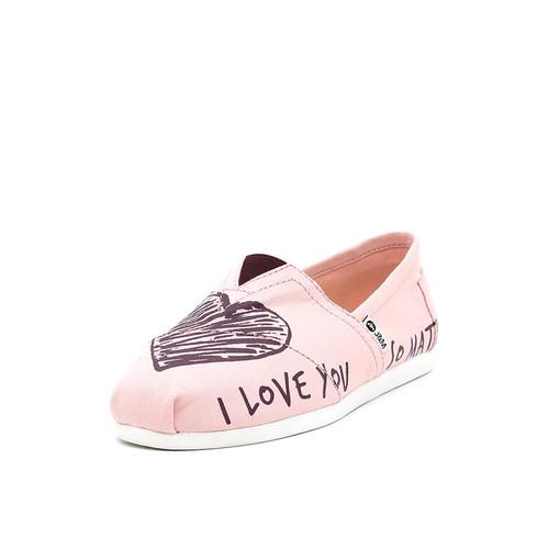 S/S 2019春夏 女士加州系列爱心涂鸦帆布休闲鞋 62119W 粉红色