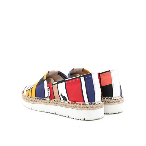 S/S 2019春夏 女士加州系列蒙德里安涂鸦休闲鞋 52069W 白色