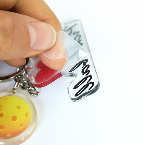 pickleball ball custom printed heart epoxy paint acrylic  keyring keychain blank acrylic custom