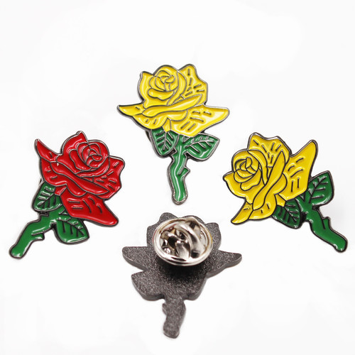 rose flower metal custom enamel jewelry brooch pin bouquet decoration gifts crafts