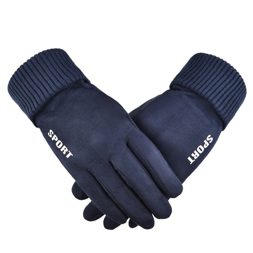 Men's full finger outdoor touch screen suede gloves
