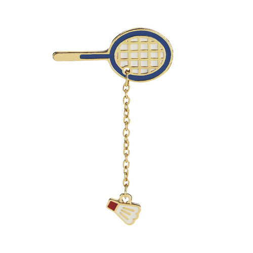 Creative badminton table tennis enamel custom metal set jewelry brooch pin movement gift souvenir