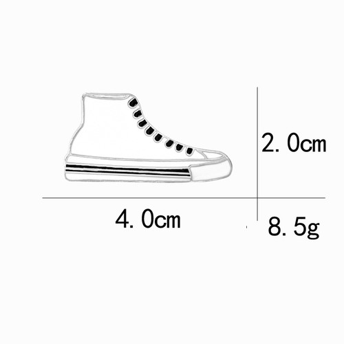 White sneakers skate canvas shoes custom anamel metal jewelry brooch pin badge bouquet decoration