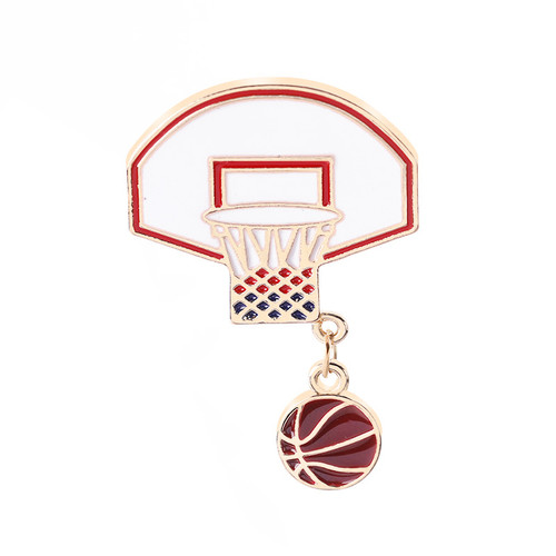 new 2019 cartoon Basketball stand enamel metal jewelry chain brooch bouquet decoration