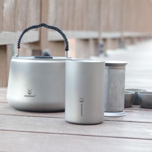 纯钛双层泡茶壶套装