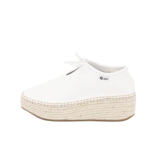S/S 2020秋冬 女士齐踝⽪⾰⿇底短靴 GY006W 白色