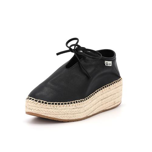 S/S 2020秋冬 女士齐踝⽪⾰⿇底短靴 GY006W 黑色