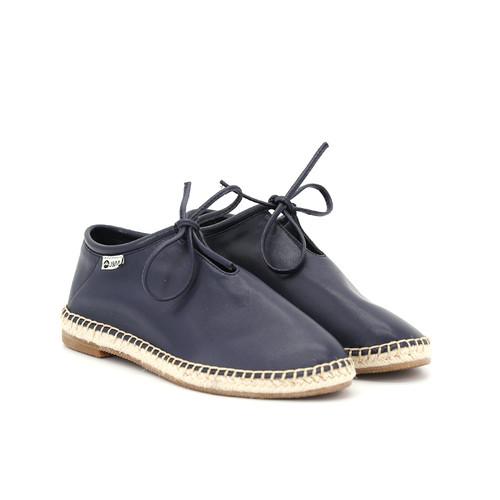 S/S 2020秋冬 女士齐踝⽪⾰⿇底短靴 GY002W 深蓝色