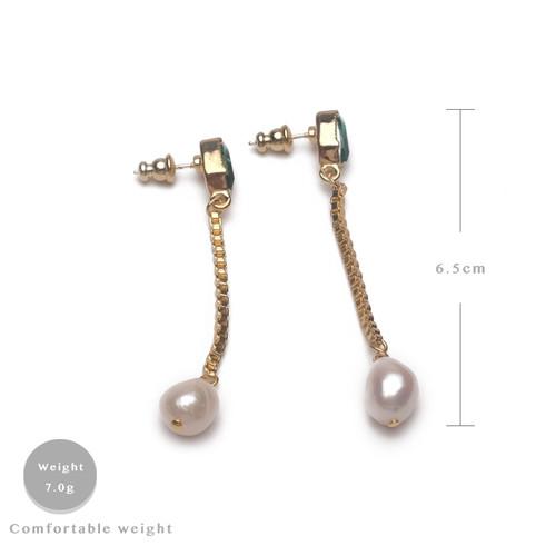 EH30616-C15绿石珍珠耳环