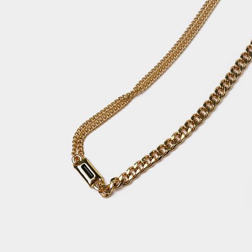 XL26619-3下3不对称双层链条项链