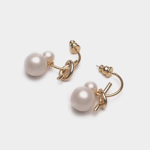 EH30229-蝴蝶结珍珠耳环