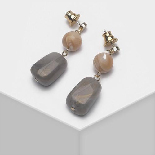 EH63519-E147不规则纹路仿石头耳环