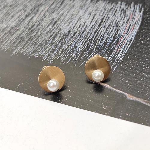 EH17993-BX4拉丝圆盘珍珠耳钉