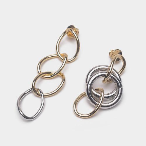 EH63107E145不对称镀金圈圈耳环