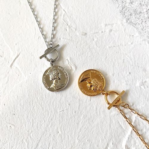 XL26594-复古美人头钱币项链