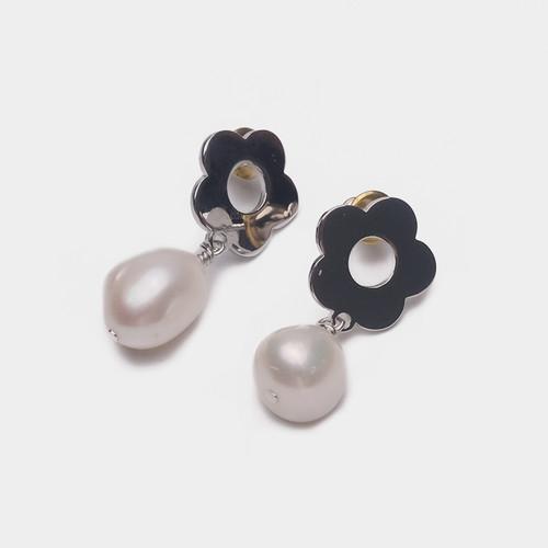 EH30244-B下2小花珍珠吊坠耳环