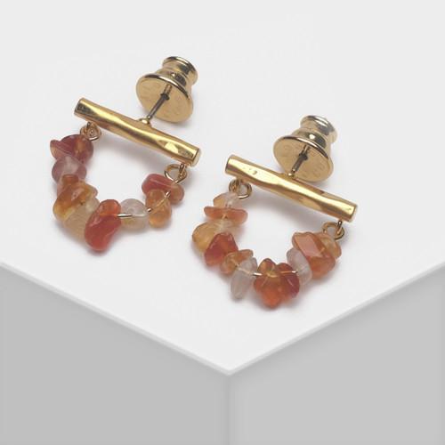 EH63489-E148串珠石头U形耳环