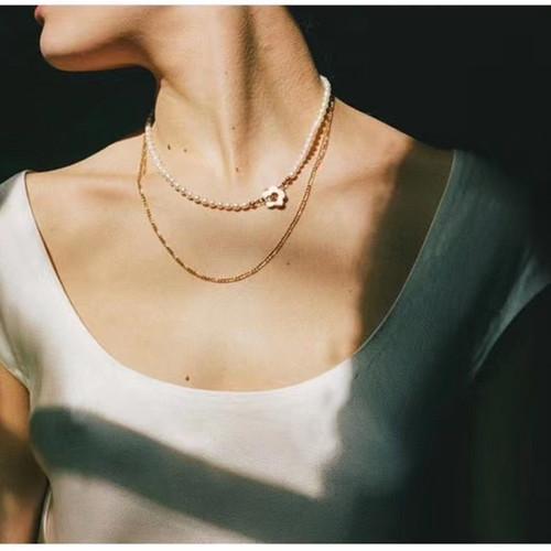 XL26477-G下2 小花珍珠颈链