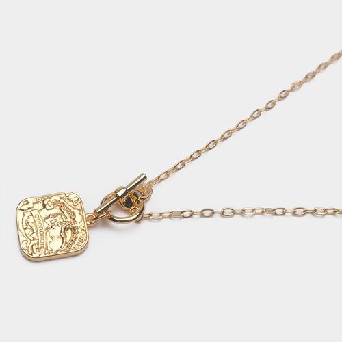 XL63012-G187方块雕刻钱币5项链