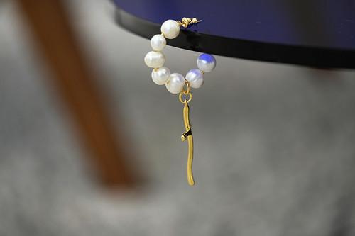 EH28082-C3天然珍珠十字架耳环