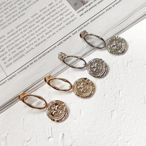 EH63089-E149复古圆牌盾牌标志耳环