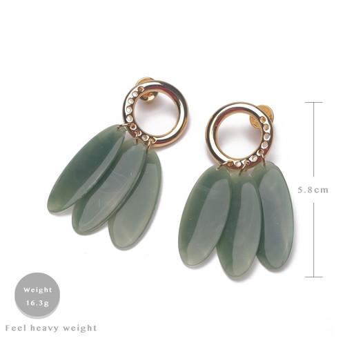 EH63569-E148流苏叶子大理石纹耳环