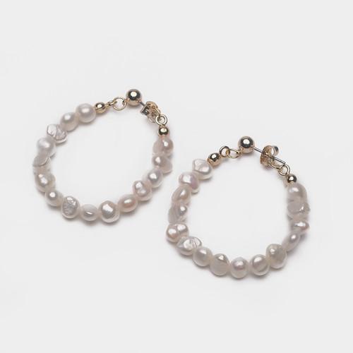 EH63347-E147天然珍珠圈圈耳环