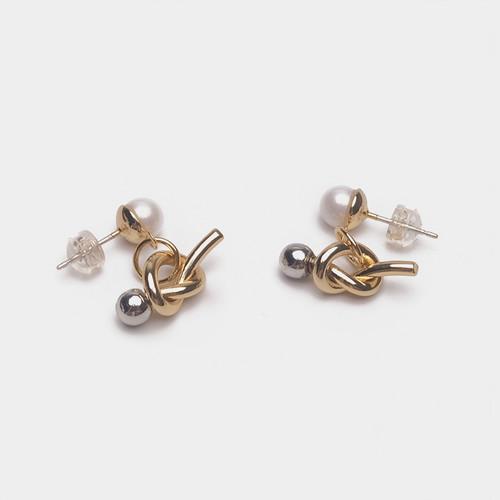 EH30230-2-9韩式打结珍珠耳钉吊坠