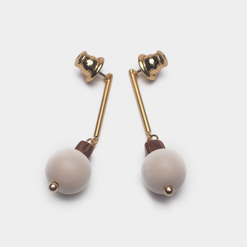 EH63490-E148木质球球耳环