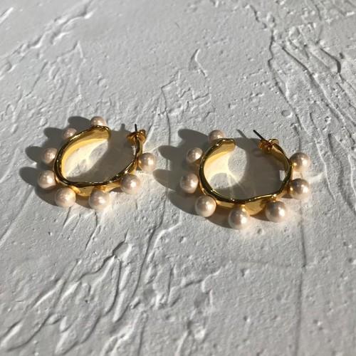 EH63910 圆圈棉花珍珠耳环