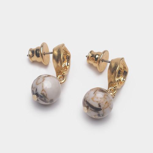 EH63496-E148天然石球球耳环