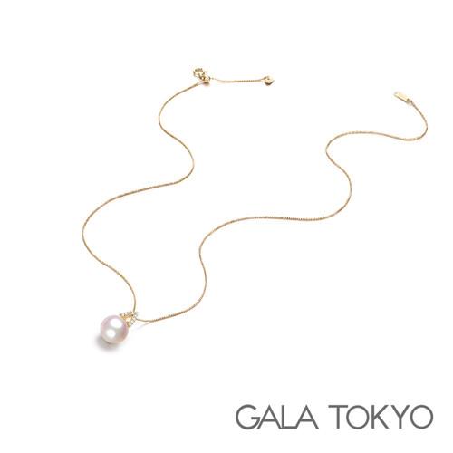 Akoya A字钻石项链 9.0-9.5mm 18KYG