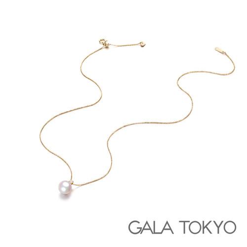 Akoya 单钻王妃项链 8.0-8.5mm 18KYG