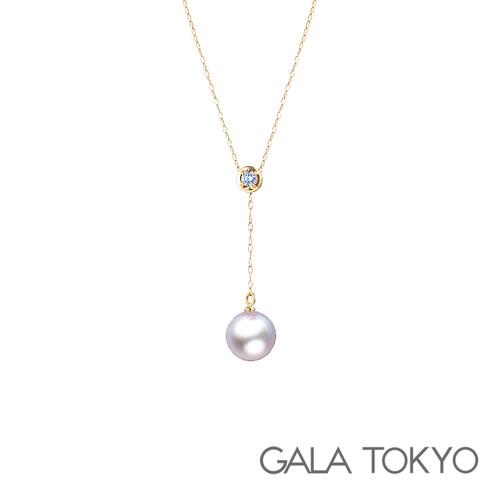 Akoya Y字钻石项链 8.0-8.5mm 18KYG