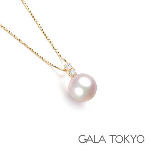 Akoya 双钻王妃项链 8.0-8.5mm 18KYG