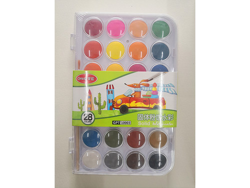 Solid opaque watercolor set  28 colors with brush