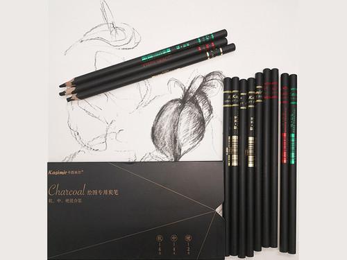 Set of  12 Charcoal Pencils Soft, medium and hard