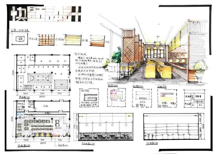 室内设计效果图线手绘_【杭州手绘考研】餐饮空间快题 第三套 - 环艺室内考研快题
