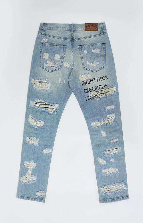 Inner Alchemy GODBLESS 破洞军布糜烂牛仔裤(预售中 发售恢复原价)