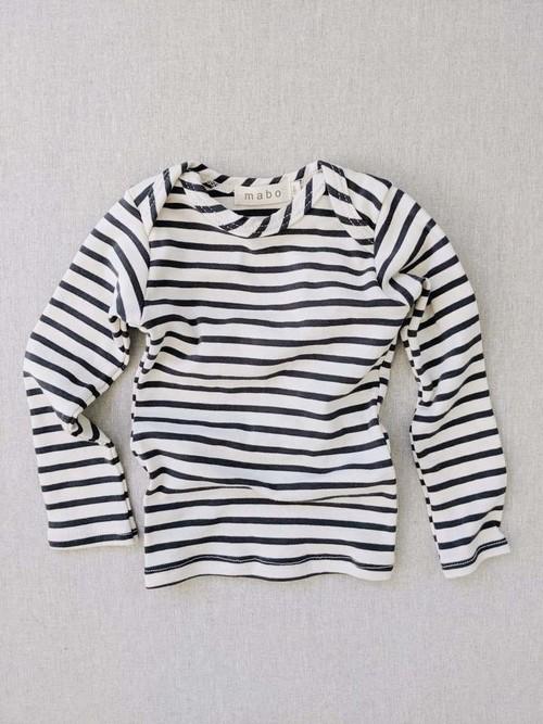 Mabokids - organic cotton striped nautical tees - natural/charcoal