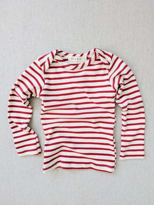 Mabokids - organic cotton striped nautical tees - natural/scarlet