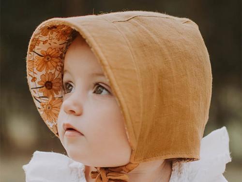 澳洲bedhead婴童纯亚麻田园帽双面可戴透气遮阳UPF50+