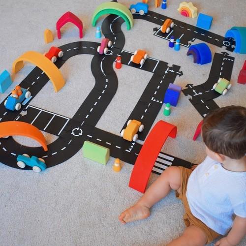 Waytoplay开放式玩具模拟汽车公路拼接组合可洗橡胶轨道马路之王